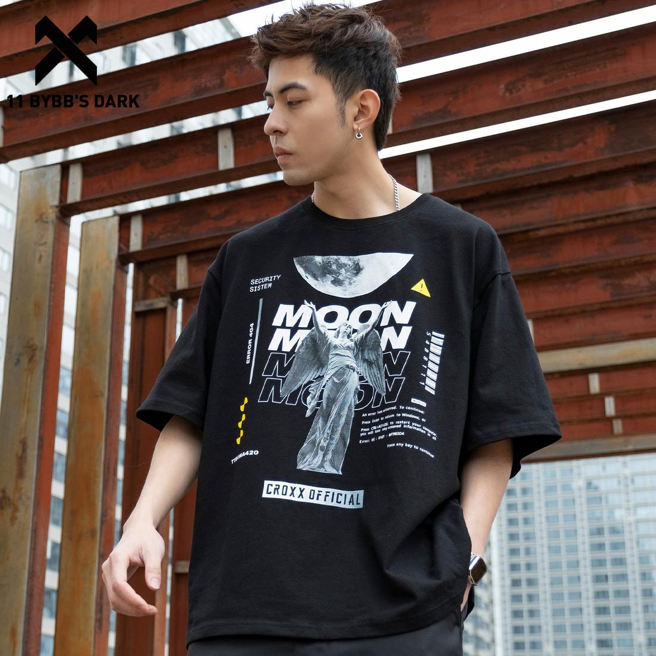 11 BYBB'S الظلام الهيب هوب تي شيرت الرجال الصيف القمر الملاك النحت طباعة القطن فضفاضة قصيرة الأكمام قمصان الشارع الشهير Harajuku التي شيرت
