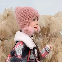 2021 new real mink fur hat furry ear protection beanie winter warm female hat fashion knitted hat