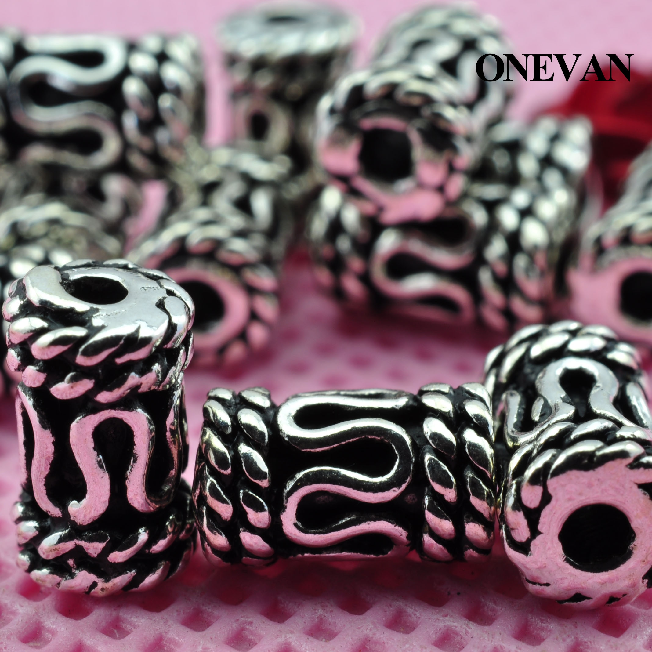 ONEVAN 100% 925 Sterling Silver Cylindrical Carved Charm Accessories Handmade Beaded Diy Bracelet Necklace Jewelry Making Design
