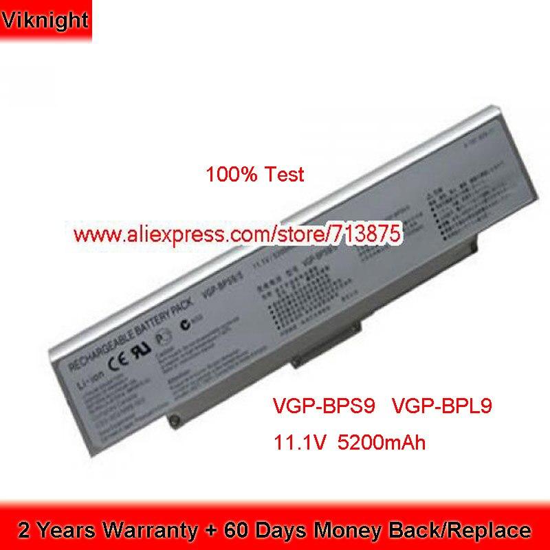 Teste de 100% 11.1V 5200mAh VGP-BPS9A VGP-BPS9/B Bateria para Sony VAIO VGN-AR VGP-BPS9 CR NR Laptop VGP-BPL9 VGP-BPS10