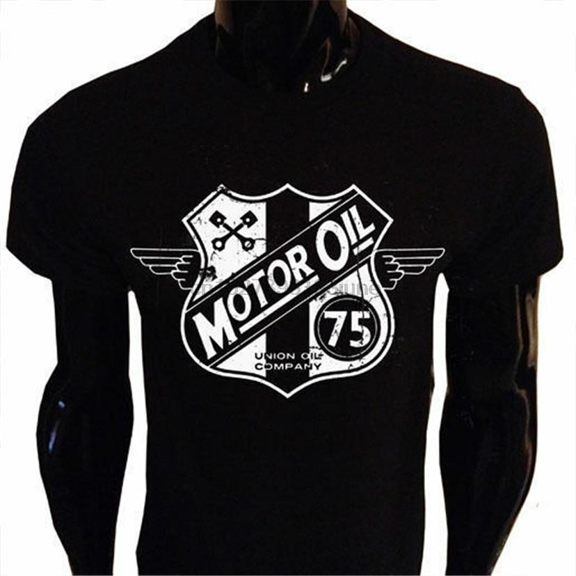 Óleo do motor retro motociclista camiseta homens S-5Xl screenprinted eua grunge vintage bicicleta streetwear camiseta