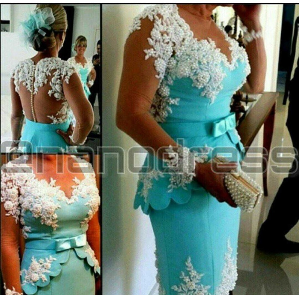 vestido xadrez Arabian Design Blue V Neck Appliqued Beaded Pearls Peplum Long Sleeve Prom mother of