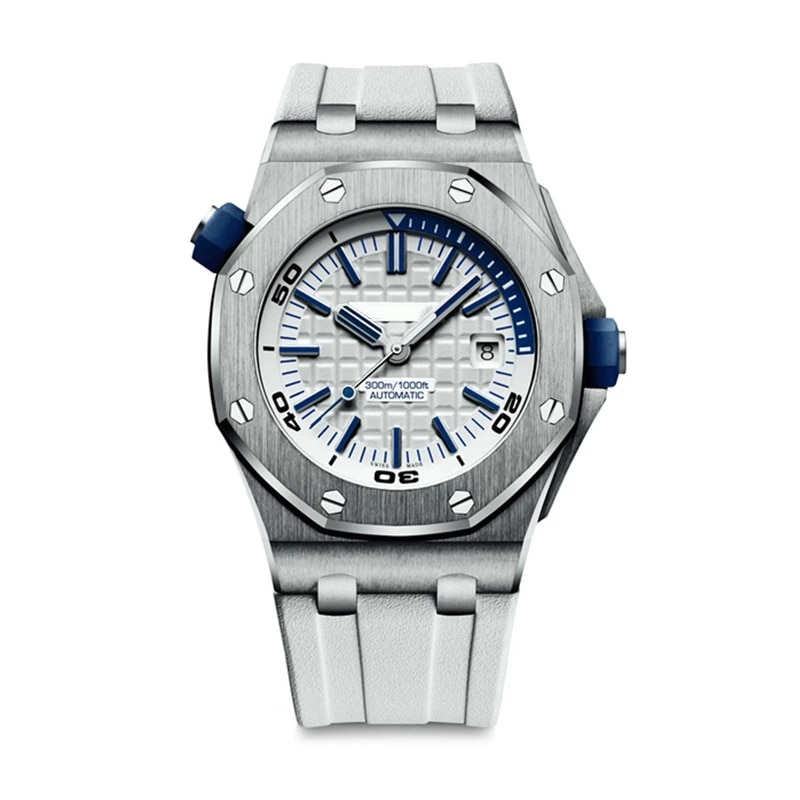New Men's Automatic Mechanical Black Blue Rubber Watch 316L Stainless Steel diving Sapphire Glass Back