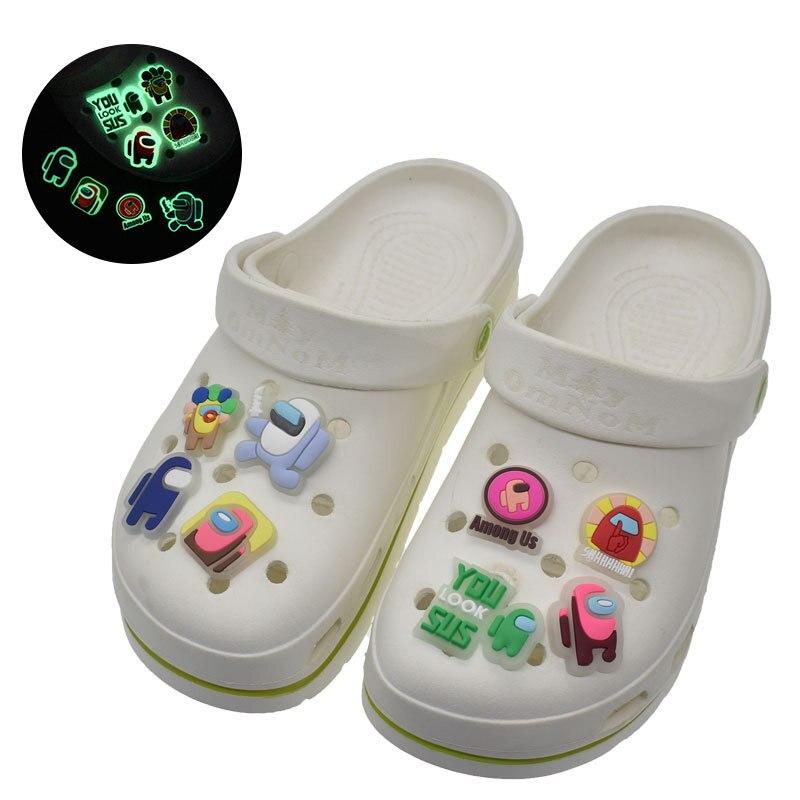 Флуоресцентные подвески для обуви из мягкого ПВХ jibz, аксессуары для крокса, светящиеся аксессуары для обуви, Детские дизайнерские подвески ...