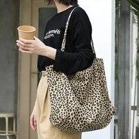 all match super large capacity leopard print canvas bag casual fashion printing handbag simple retro shoulder bag female bag