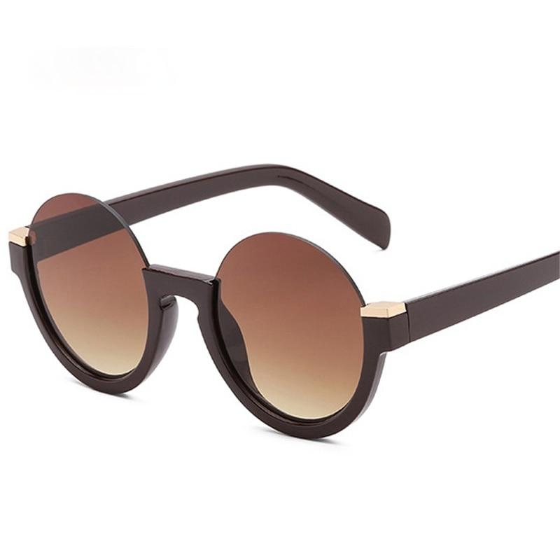 Fashion Semi-Rimless Round Women Gradient Sunglasses Retro Clear Lens Glasses Frame Shades UV400