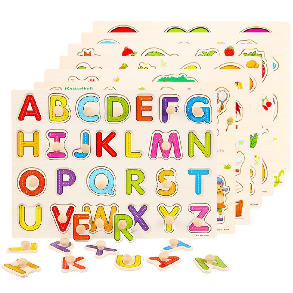 Multiple Choice Kids Wooden Education Puzzel Pegs Style Developmental Wooden Puzzel Toys