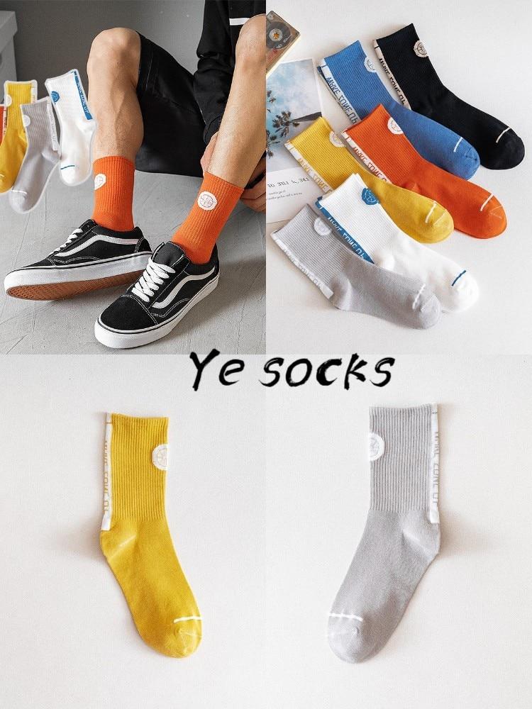 Новинка, Мужские осенне-зимние высокие носки, спортивные хлопковые носки для пар, хлопковые мужские и женские парные носки