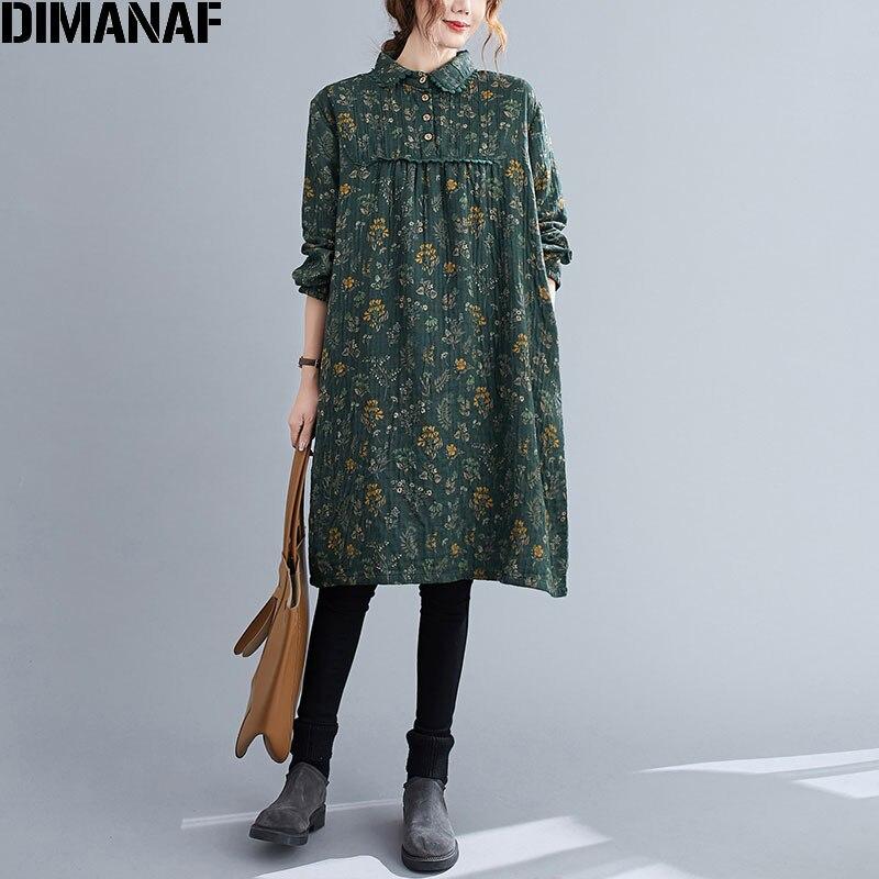 Dimanaf 2020 plus size vestido feminino flor impresso plissado emendado botão de renda blusa feminina estilo casual vintage novo vestido de verão