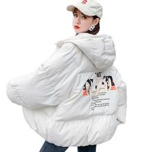 Frau Winter Jacke Cartoon Parka Mantel Weiblichen Kapuze Warme Kurze Jacken Beiläufige Jacke Plus Größe Mantel Femme Harajuku Heißer
