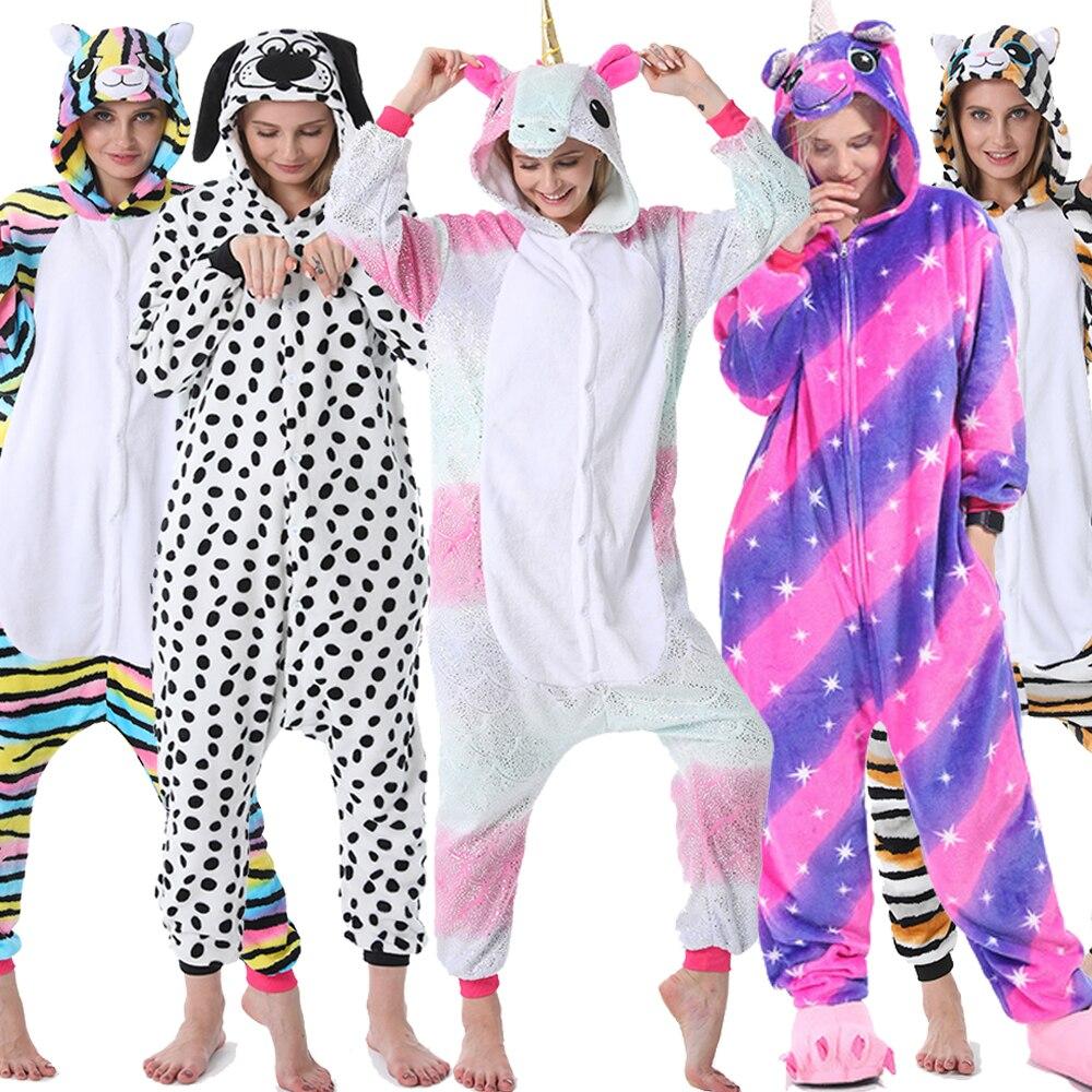 Traje para pijamas adultos Navidad nuevo invierno mujer hombre Onesie Animal Stitch unicornio franela camisón casa ropa de dormir