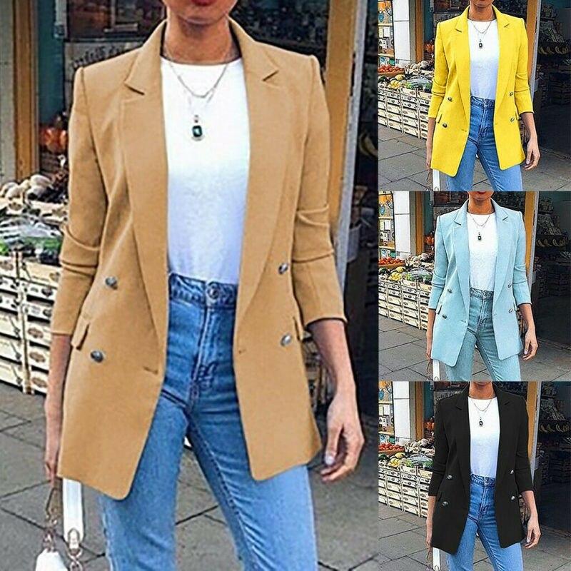 Модное женское пальто, приталенный Блейзер, куртка с отложным воротником, официальный офисный костюм, верхняя одежда