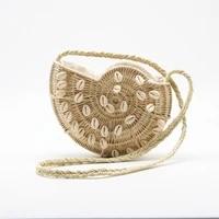 new semi circular paper woven straw bag democratic wind shell obliquely woven bag shoulder summer female beach travel bag