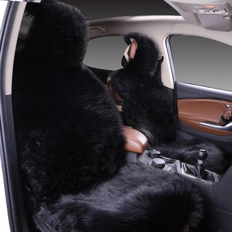 5 seat Keep warm Australian lana larga cubierta de asiento de piel de felpa para seat ibiza para Nissan VERSA Sedan Latio Sunny (delantera + trasera)