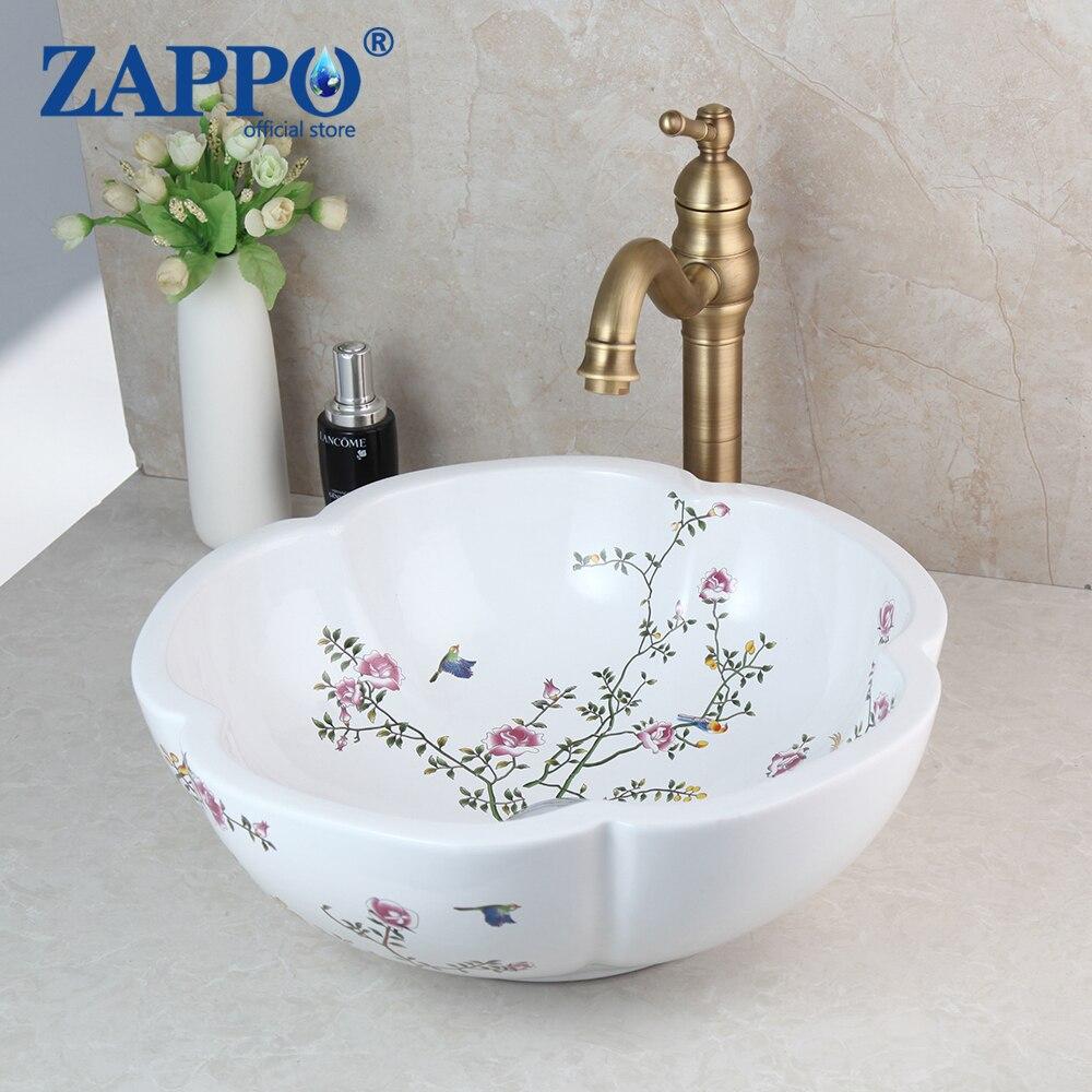 ZAPPO-مجموعة حنفية الحمام مع صنبور خلاط مياه نحاسي عتيق ، مجموعة من أحواض السيراميك مع صنبور خلاط ، تصميم زهور الربيع