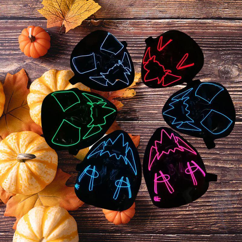 Máscara de LED brillante para fiesta de Halloween, máscara de Cosplay Horrible, máscara de fiesta, utilería para anime, máscara de Horror Ball 86