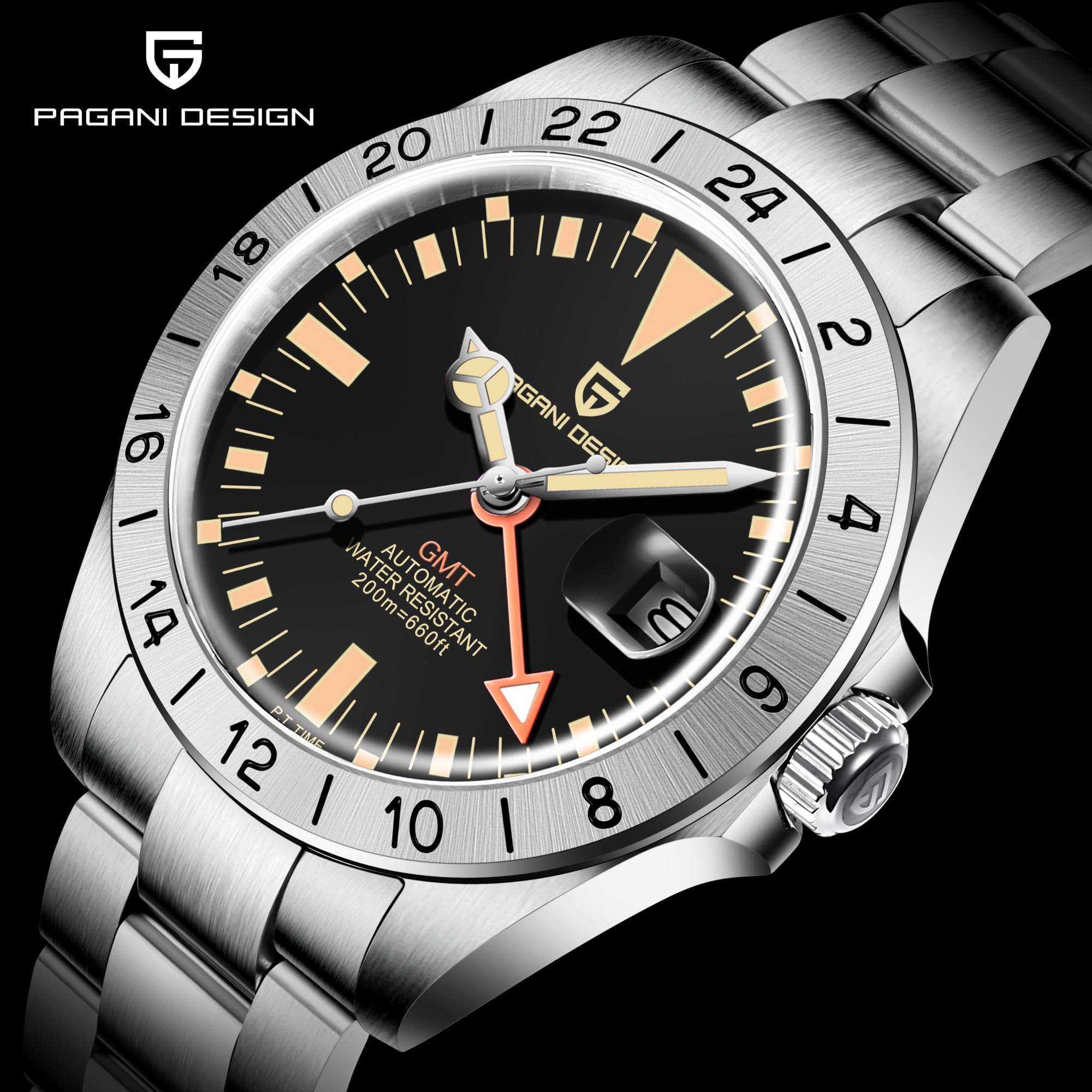2021 PAGANI تصميم العلامة التجارية الجديدة 42 مللي متر الرجال التلقائي ساعات آلية فاخرة الياقوت الفولاذ المقاوم للصدأ الرجال ساعة reloj hombre