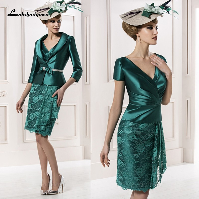 Lakshmigown-فستان أم العروس باللون الأخضر ، مقاس كبير ، جاكيت ، دانتيل ، طول الركبة ، قصير ، للأم والعريس ، ماي دا noiva