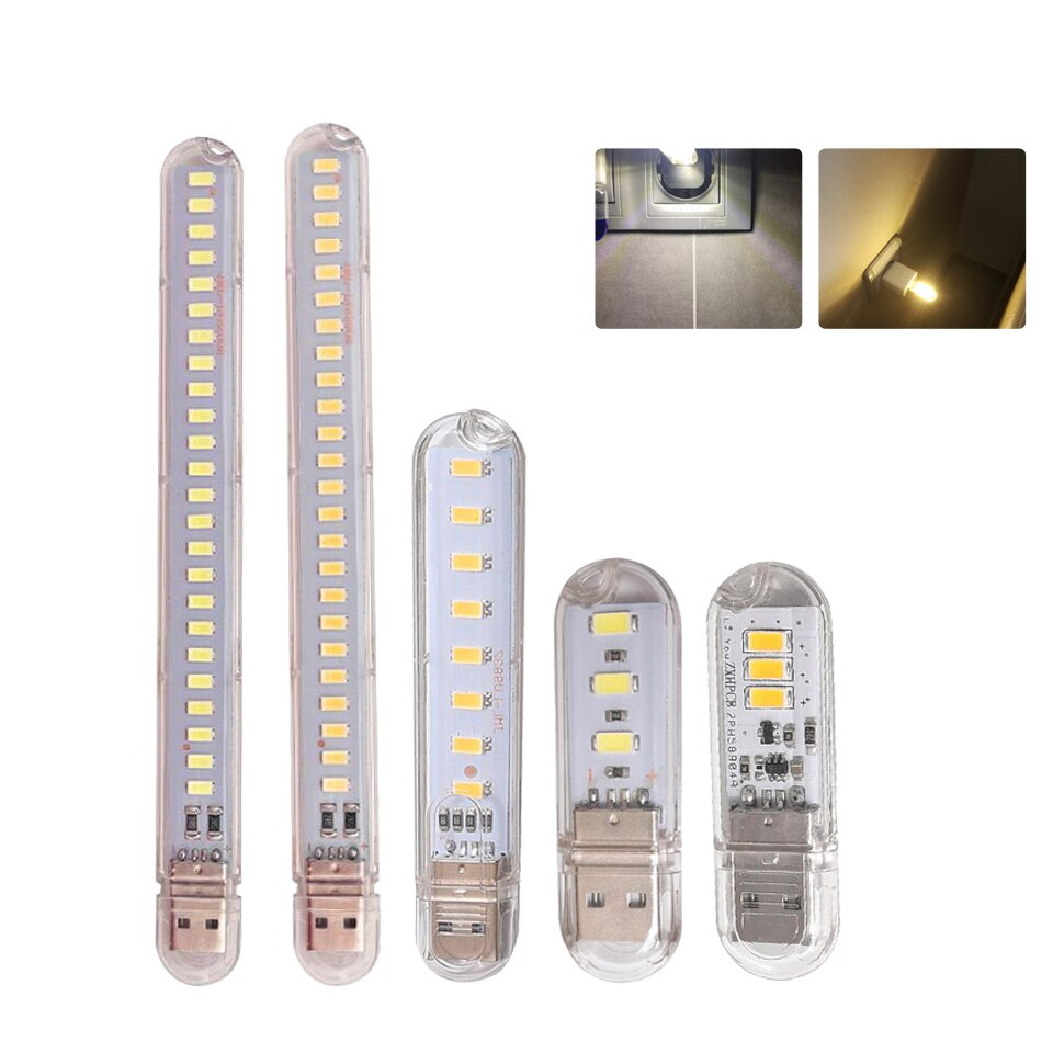 Mini Portable USB LED Book Light DC5V Ultra Bright Reading Book Lamp 3leds 8leds 24leds Lights For Power Bank PC Laptop Notebook