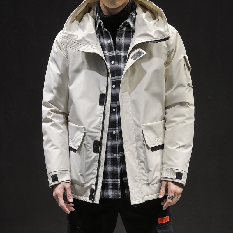 gymlocker 2018 winter new men parka long section compression warm windproof coat zipper hooded parka mens clothing size m 3xl 2020 New White Duck Down Jacket Men Thick Winter Normcore/Minimalist Hooded Windproof Warm Coat Parka Big Pockets Size 3XL