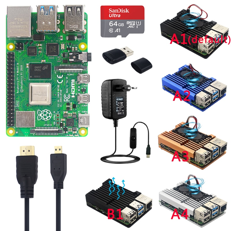 Original Official Raspberry Pi 4 Model B Kits Dual Fan Aluminum Case + 32/64 GB SD Card + Power Adapter + Heatsinks for RPI 4