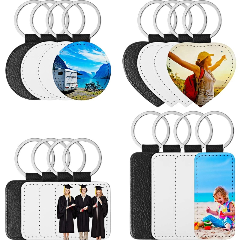 16 Pieces Sublimation Blanks Keychain PU Leather Keychain Heat Transfer Keychain Keyring Sublimation Keyrings DIY Craft
