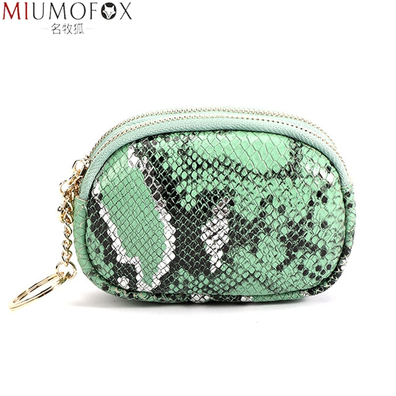 Mini Wallet Women Double Zip Leather Coin Purses Fashion Python Pattern Design Small Change Purse Credit Card Coins Pouch Wallet