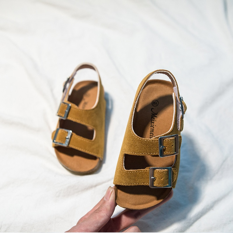 2021 Summer Boys and Girls Leather Sandals for Children Beach Shoes Kids Sports Soft Non-slip Casual