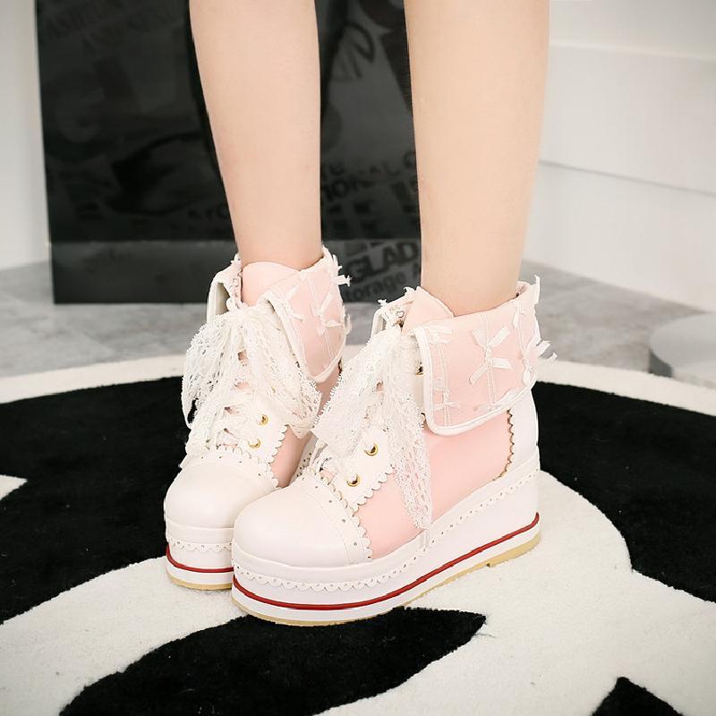 الحلو لوليتا أحذية vintage رئيس مستديرة قاع القاع أحذية النساء لطيف bowknot الصليب ضمادة أحذية kawaii لولي تأثيري kawaii فتاة