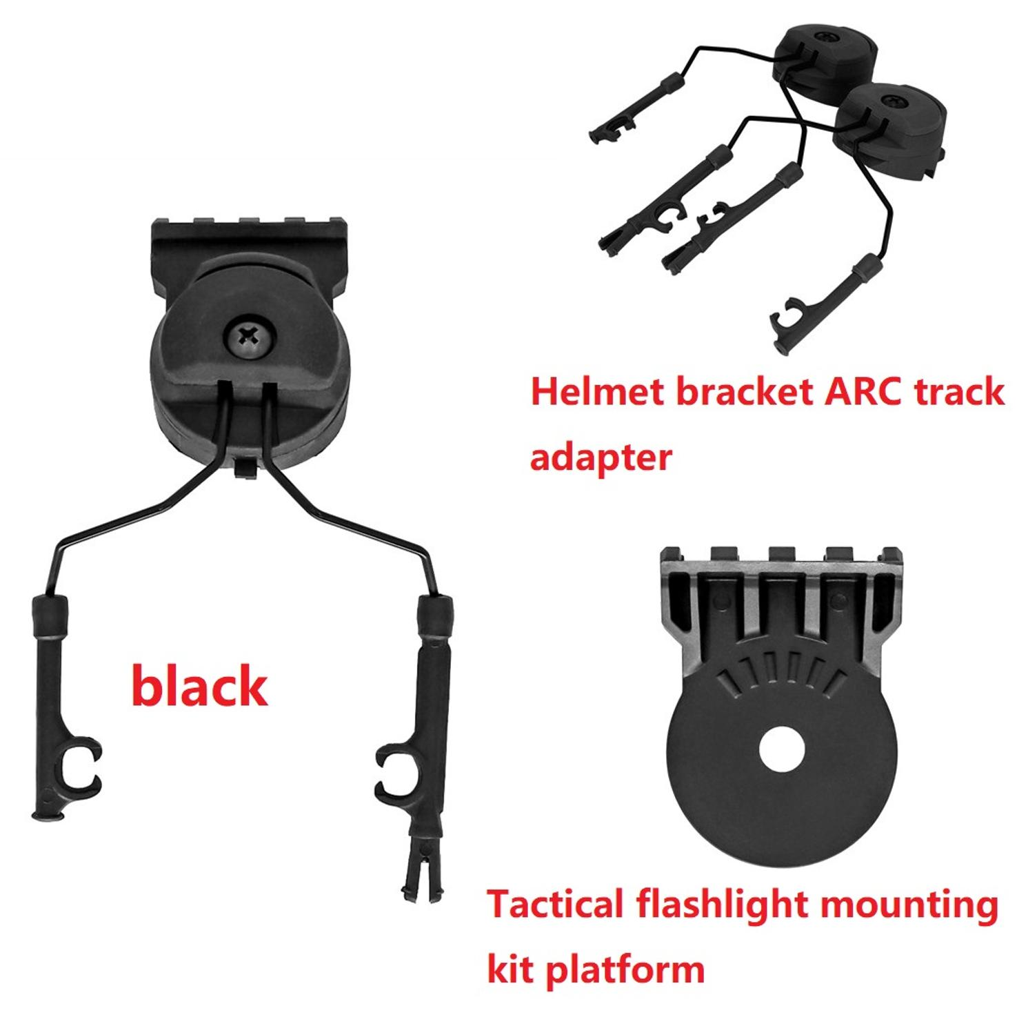 Outdoor hunting sports tactical headset helmet mount Fast Ops Core helmet ARC track adapter tactical flashlight helmet mount  BK enlarge