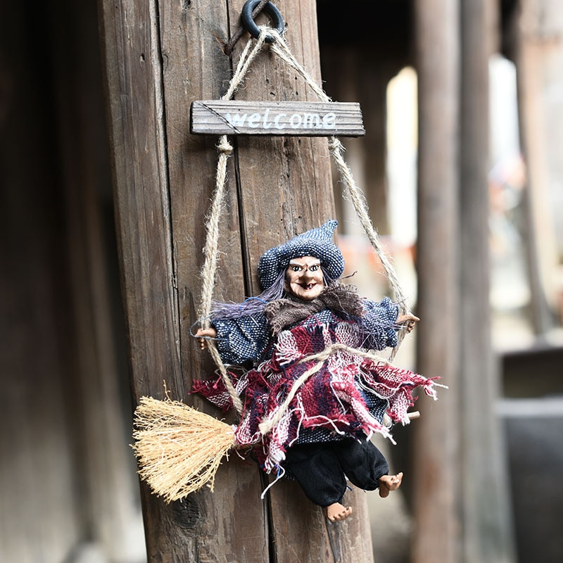 1 pieza escoba de bruja Vintage colgante adorno colgador de puerta Halloween fantasma decoración casa accesorios de arreglo KTV accesorios de diseño
