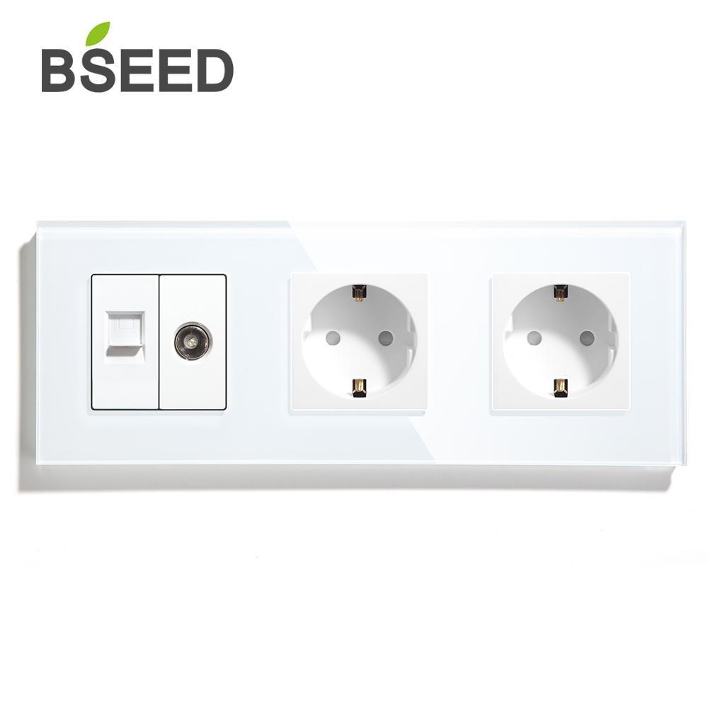 BSEED-مقبس مزدوج قياسي في الاتحاد الأوروبي ، مع تلفزيون ، كمبيوتر شخصي ، أبيض ، أسود ، ذهبي ، 288 مللي متر