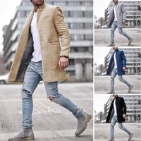 2021 new arrival winter fashion outfit men slim fit cardigan blends coat jacket suit solid mens long woolen trench coat outwear
