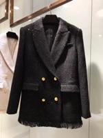 ladies 2021 new high quality fashion long sleeve lapel fringed jacket 0119