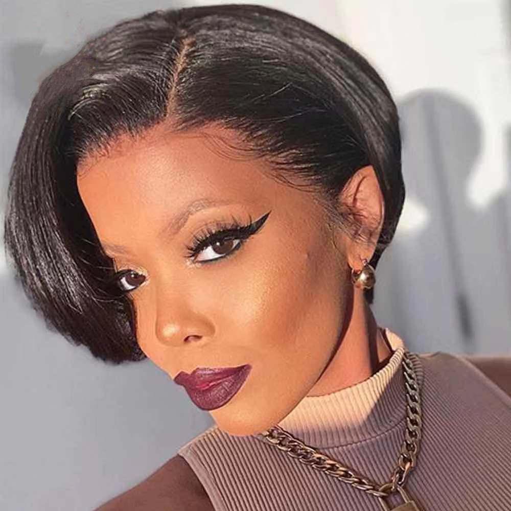Short Pixie Cut Wig Human Hair Wig Bob Straight Human Hair Wigs For Black Women Full Machine Made Wig Straight Bob Wig
