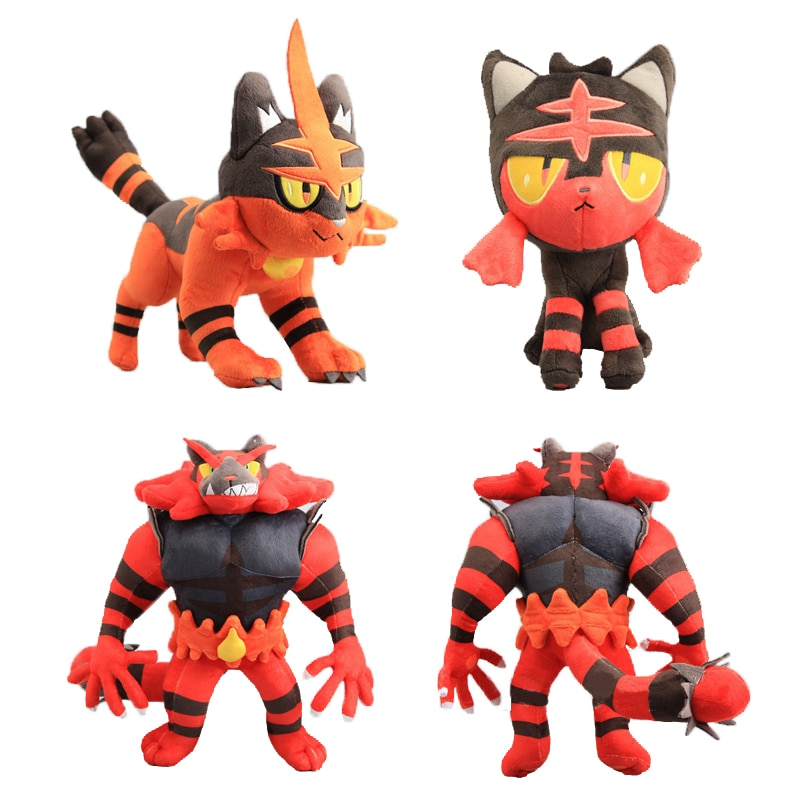 20-30cm Anime Plush Litten Torracat Incineroar Plush Stuffed Toys Peluche Cute Pikachu Eevee Mew Dragonite Series Kids Gift