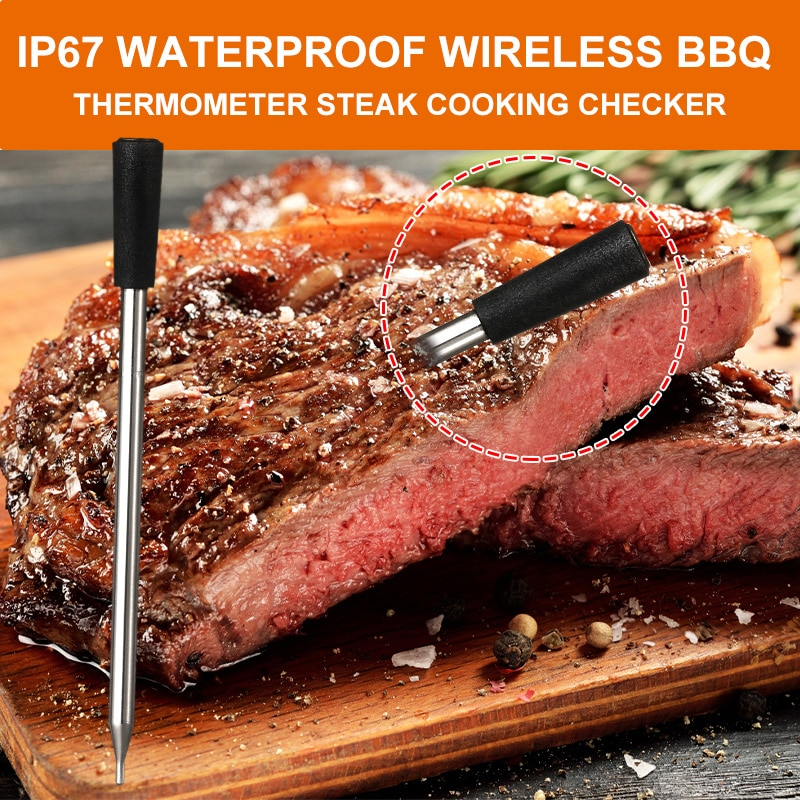 Kitchen Hygrometer For Meat Oven Steak Grill BBQ Smoker Electronic Thermometer Wireless Digital Bluetooth Barbecue Dual Sensors enlarge