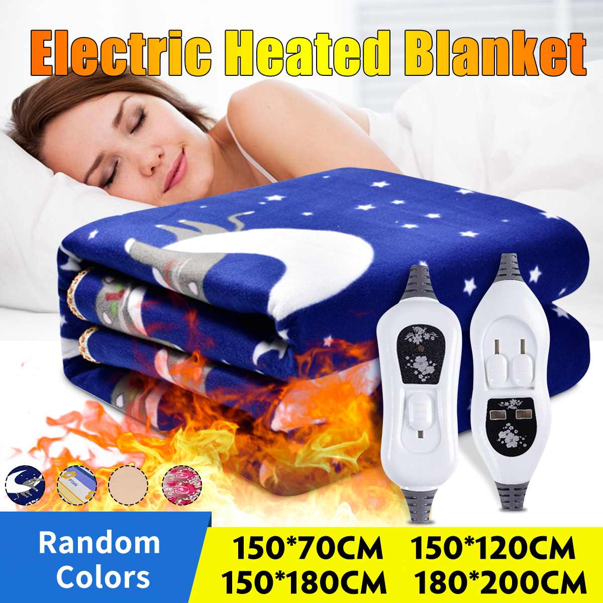 Manta eléctrica con calefacción para el cuerpo, Manta caliente de 220V, calefacción...