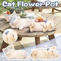 Pot de fleurs succulentes en resine  decoration dinterieur  chat mignon creatif  plante verte  Micro paysage  dessin anime  Animal