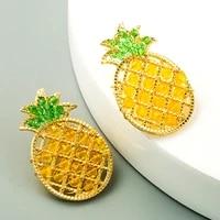 trendy exquisite crystal pineapple fruit earrings for women high quality jewelry aaa zircon s925 needle stud birthday party gift