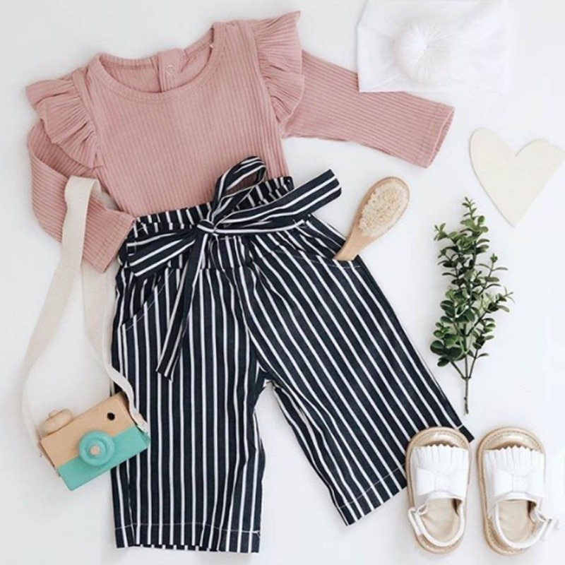 2019 nuevo otoño bebé niña Adorable manga larga Romper Tops rayas estampado pantalones trajes ropa de otoño