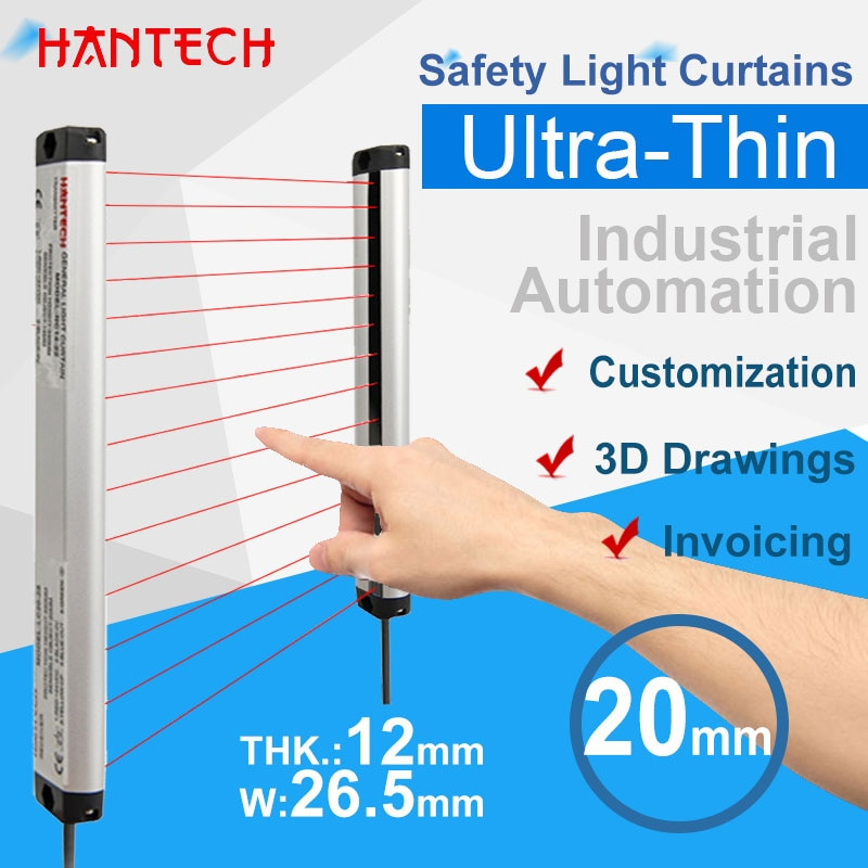 Safety Light Curtains 20mm Infrared Sensor Grating Industrial Automation Protect Transistor Ultra-Thin 24V PNP Customization