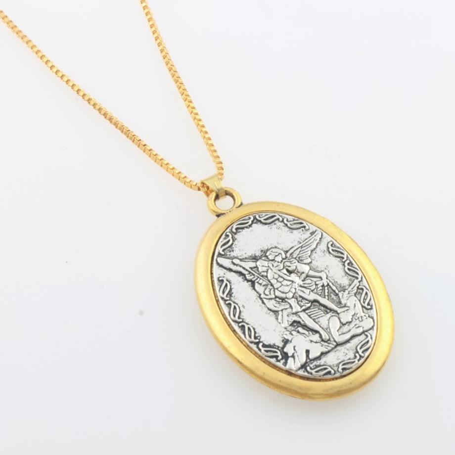 Католический патрон Святого кулон Майкл св. Майкл Архангел 2 дюйма кулон ожерелье 24 Цепи N1779
