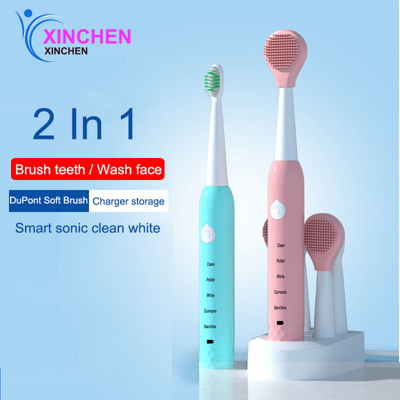 XINCHEN New Adult USB soft hair Recharge Tooth Brush Sonic Vibration Waterproof Electric brush 5 Modes Smart
