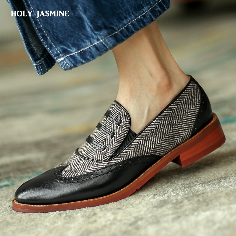 2021 British Style Women Shoes Shallow Genuine Leather Carved Bullock Shoes Ladies Slip on Casual Shoes Footwear Womens Shoes