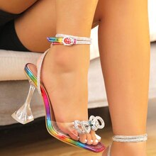 Summer 2021 Women's Sexy Bomb Square Toe High Heeled Shoes Toe Clamping Stiletto High Heels