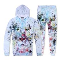 Fashion Hip Hop Men 3D Hooded Traksuits Set Print Lion Animal Hoodies Sweatshirt and Pants Pullover S-XXL