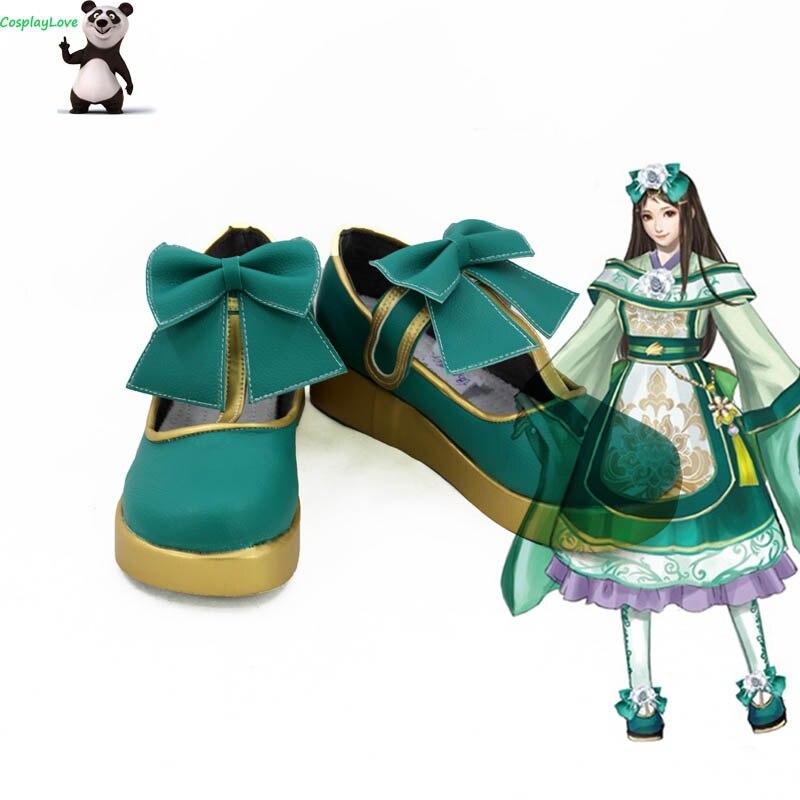 Dynasty Warriors Shin Sangokumusou 8 Xia Houji Sapatos Cosplay Botas Longas De Couro Ouro Verde Feito Sob Encomenda Para O Natal Das Bruxas