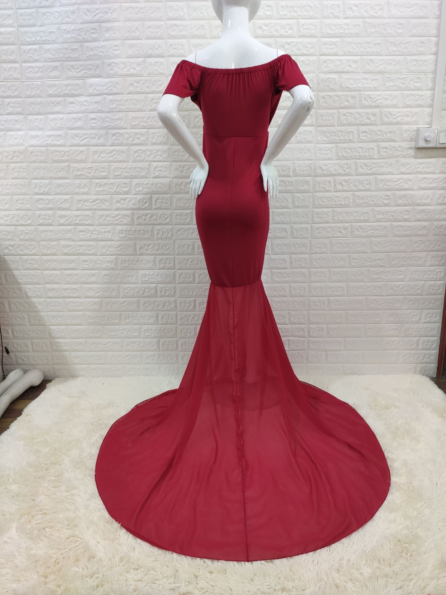 Off Shoulder Mermaid Maternity Dresses Photo Shoot Pregnant Women Sexy Maxi Pregnancy Gown Baby Shower Photography Props Clothes enlarge