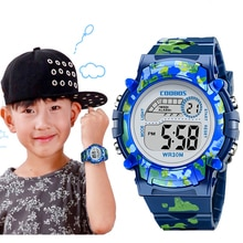 Navy Blue Camouflage Kids Watches LED Colorful Flash Digital Waterproof Alarm For Boys Girls Date We